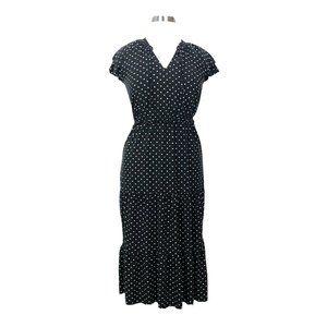 Old Navy Polka Dot Dress Med/LG Tiered Maxi Black